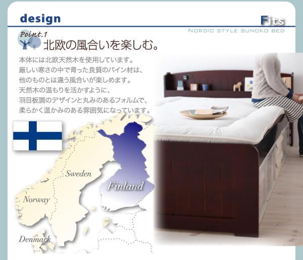 収納ベッツ通販 北欧風ベッド『高さが調整できる!棚・コンセント付きすのこベッド【Fits】フィッツ』
