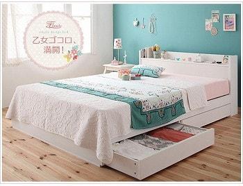 収納ベッドシングル通販 白い収納ベッド『棚・コンセント付き収納ベッド【Fleur】フルール』