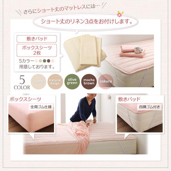 収納ベッドシングル通販 シングルより小さいベッド『棚・コンセント付き収納ベッド【Fleur】フルール』