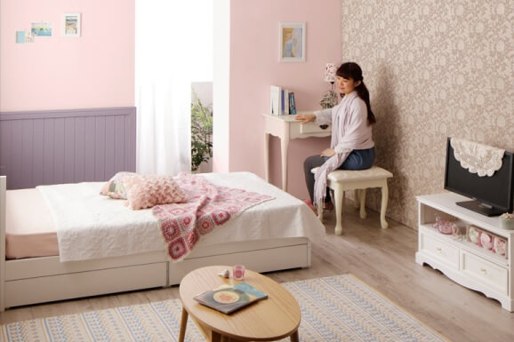 女性の社会人の新生活スタートにおススメの格安の棚・コンセント付き収納ベッド『棚・コンセント付き収納ベッド【Fleur】フルール』