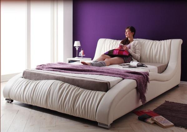 白いベッド『モモダンデザイン・高級レザー・デザイナーズベッド【Fortuna】フォルトゥナ』