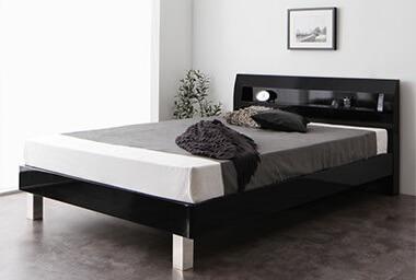 シンプルベッドフレーム通販『頑丈デザイン棚・コンセント付すのこステーションベッド【G-BED】ジーベッド』ブラック