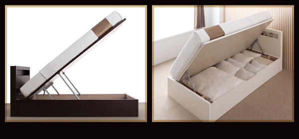 低ホルムアルデヒド建材を使った収納ベッド 開閉タイプが選べるガス圧式跳ね上げ大容量収納ベッド【Grand L】グランドエル