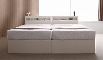 収納ベッドシングル通販 2台きれいに並べられる収納ベッドシングルサイズ『【Grand L】グランドエル 開閉タイプが選べるガス圧式跳ね上げ大容量収納ベッド』