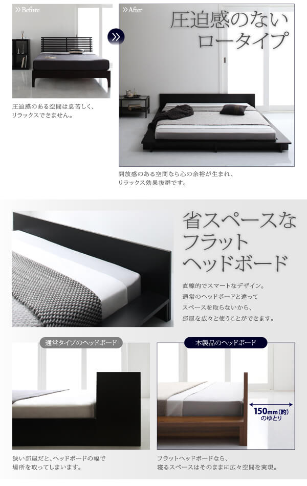 フラットパネルベッド『シンプルモダンデザインフロアローステージベッド【Gunther】ギュンター』