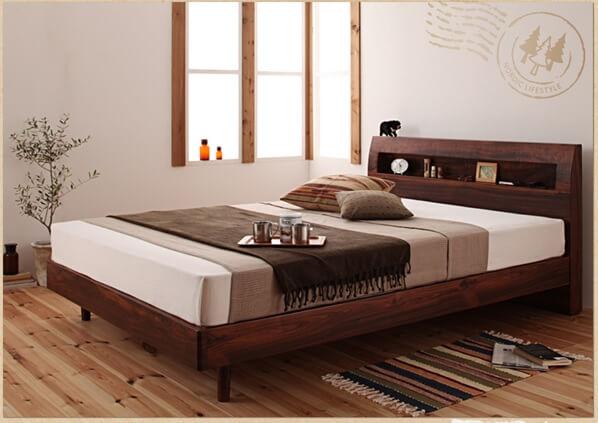 フレームにメーカー保証のあるレッグタイプベッド『棚・コンセント付きデザインすのこベッド【Haagen】ハーゲン』