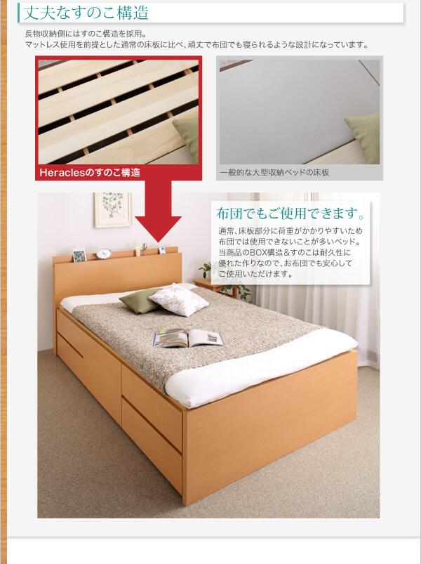 収納ベッドシングル通販 ベッドに布団(和布団)を敷けるベッド『長く使える棚・コンセント付国産頑丈チェスト収納ベッド【Heracles】ヘラクレス』