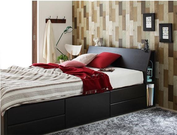 収納ベッドシングル通販 モダンスタイル収納ベッド『コンセント付き北欧モダンデザインチェストベッド【Hoge】ホーグ』