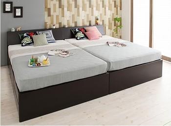 収納ベッドシングル通販 2台きれいに並べられる収納ベッドシングルサイズ『【Hoge】ホーグ コンセント付き北欧モダンデザイン収納ベッド(チェストベッド)』