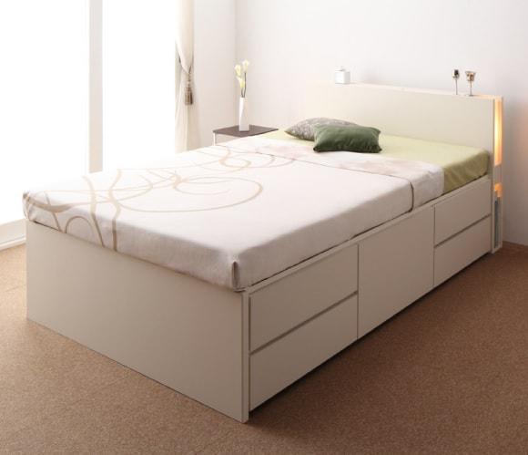 収納ベッドシングル通販 白い収納ベッド『モダンライト・コンセント付きチェストベッド【Huette】ヒュッテ』
