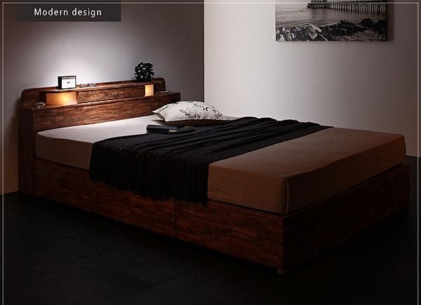 収納ベッドシングル通販 背面化粧の収納ベッド『モダンライト・コンセント付き収納ベッド【IDADE】イダーデ』