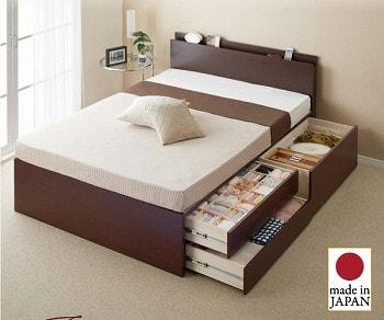 『日本製_棚・コンセント・仕切り板付き大容量チェストベッド【Inniti】イニティ』でフランスベッドのプレミアムマットレス『羊毛デュラテクノマットレス』とセットの2段チェスト収納ベッド
