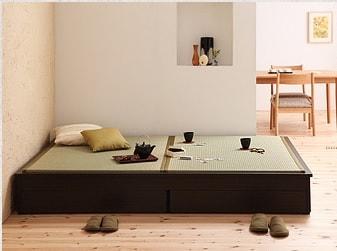 収納ベッドシングル通販 ヘッドレスト収納ベッド『モダンデザイン畳収納ベッド【花梨】Karin』