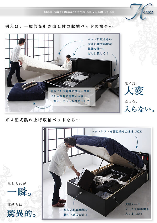 収納ベッドシングル通販 ショート丈ガス圧跳ね上げ式収納ベッド『【Kezia】ケザイア』