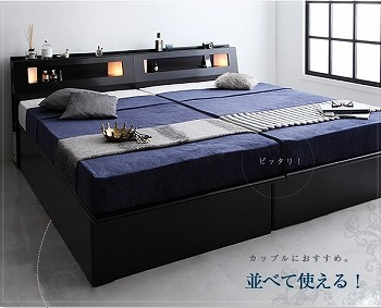 収納ベッドシングル通販 2台きれいに並べられる収納ベッドシングルサイズ『【Kezia】ケザイア モダンライトコンセント付き・ガス圧式跳ね上げ収納ベッド』