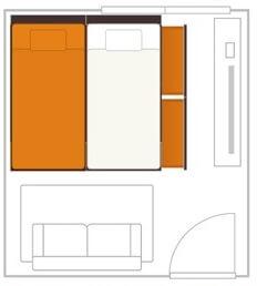 チェストベッドを2台並べるとベッドの両側にスペースが必要となる