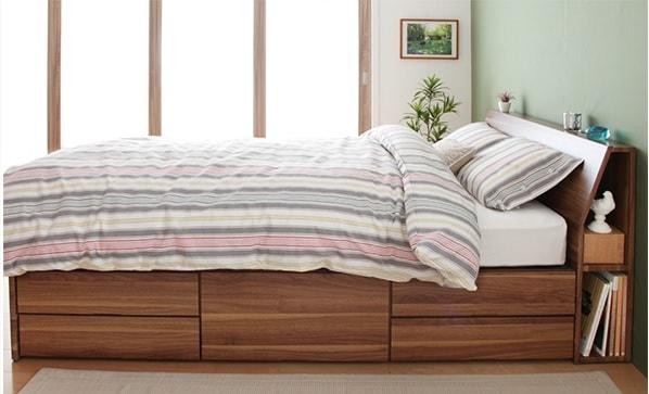 収納ベッドシングル通販 サイドキャビネットがある収納ベッド『コンセント付き北欧モダンデザイン収納ベッド(チェストベッド) 【Krona】クルーナ』