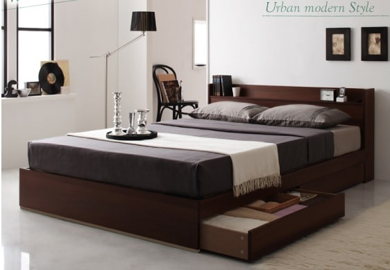 収納ベッドシングル通販 スタイリッシュ収納ベッド『棚・コンセント付き収納すのこベッド【LaBrea】ラブレア』