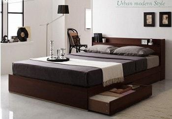 ブラウン系1段チェスト北欧風ベッド