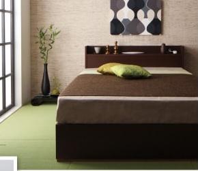 収納ベッドシングル通販 和室に似合うチェスト収納ベッド『棚・コンセント付き収納すのこベッド【LaBrea】ラブレア』