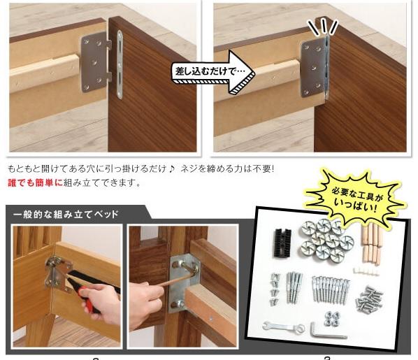 収納ベッドシングル通販 組立見積もり時間3分の超簡単組立ベッド