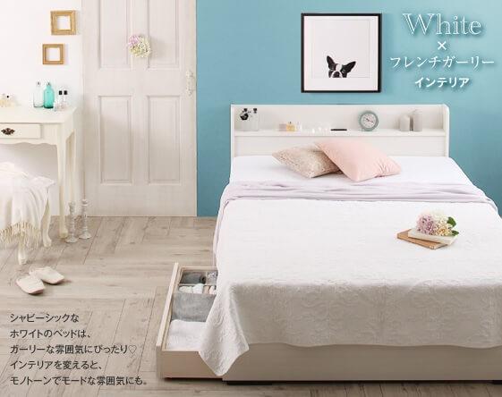 白いベッドのが似合うパステルカラーのベッド『工具いらずの組み立て・分解簡単収納ベッド【Lacomita】ラコミタ』