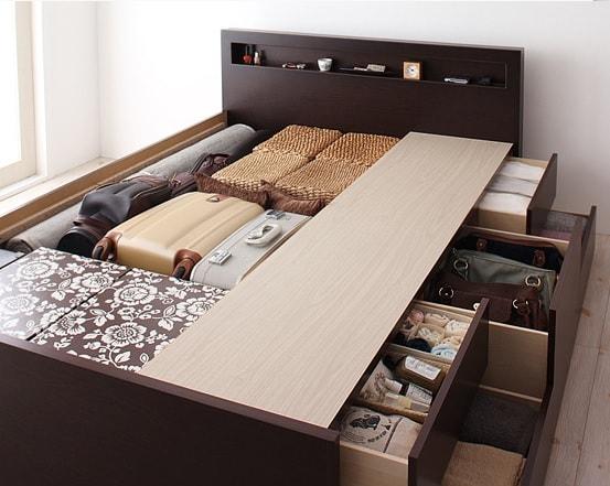 収納ベッド通販 大容量収納ベッド BOX構造の引出しの反対側はフラットなスペース
