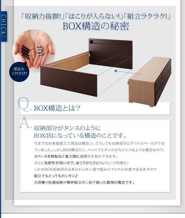 収納ベッドシングル通販 BOX構造の収納ベッド『棚・コンセント付き収納ベッド(チェストベッド)【Lagest】ラジェスト』
