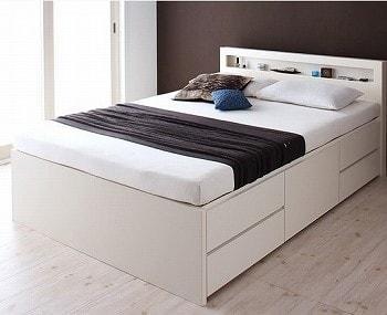 収納ベッドシングル 低ホルムアルデヒド建材使用の収納ベッド『【Lagest】ラジェスト 棚・コンセント付き収納ベッド(チェストベッド)』