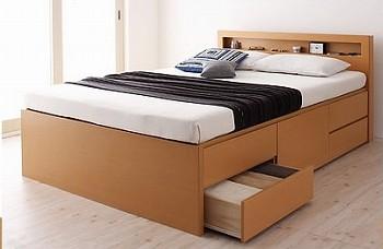 『棚・コンセント付き収納ベッド(チェストベッド)【Lagest】ラジェスト』ダークブラウン