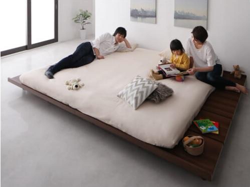 ロータイプの長いベッド『デザインすのこファミリーベッド 【Laila=Ohlson】ライラオールソン』