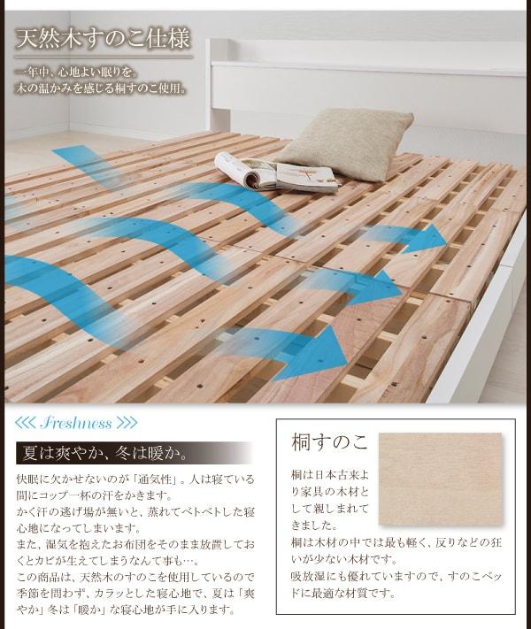 シンプルベッドフレーム通販『棚・コンセント付きデザインベッド【Langford】ランフォードすのこ仕様』