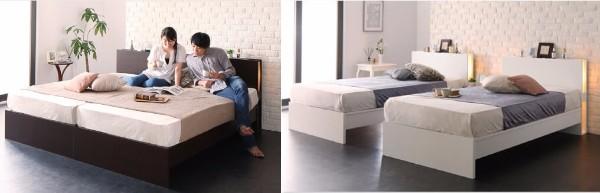 ぴったりと並べられるし、話しても使えるベッド『国産 モダンライト付きすのこベッド【Lasse】ラッセ』