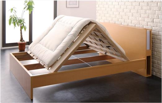 布団が干せるベッド『国産 モダンライト付きすのこベッド【Lasse】ラッセ』
