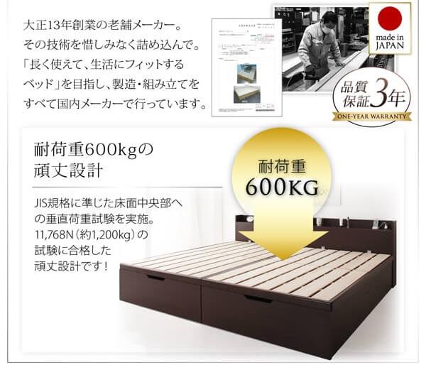収納ベッド通販 国産の頑丈なベッド『1台で3役使える 国産頑丈すのこ跳ね上げ式大容量収納ベッド【Long force】ロングフォルス』