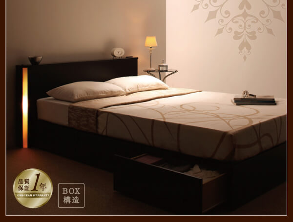 ヘッドボードのサイドから部屋を仄かに照らすベッドライト『モダンライト・コンセント付き収納ベッド【Lumiere】リュミエール』