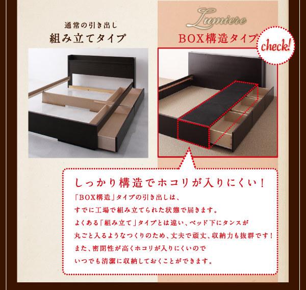 ホコリ対策付引出しタイプ 収納ベッド シングル 【Lumiere】リュミエール