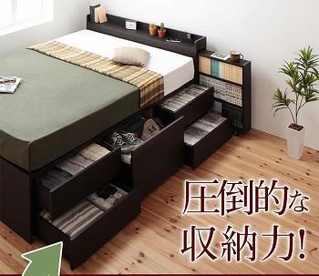 収納ベッドシングル 引出し式大容量収納ベッド『【MAX-IN】マックスイン 8つの収納で、驚きの大容量収納』