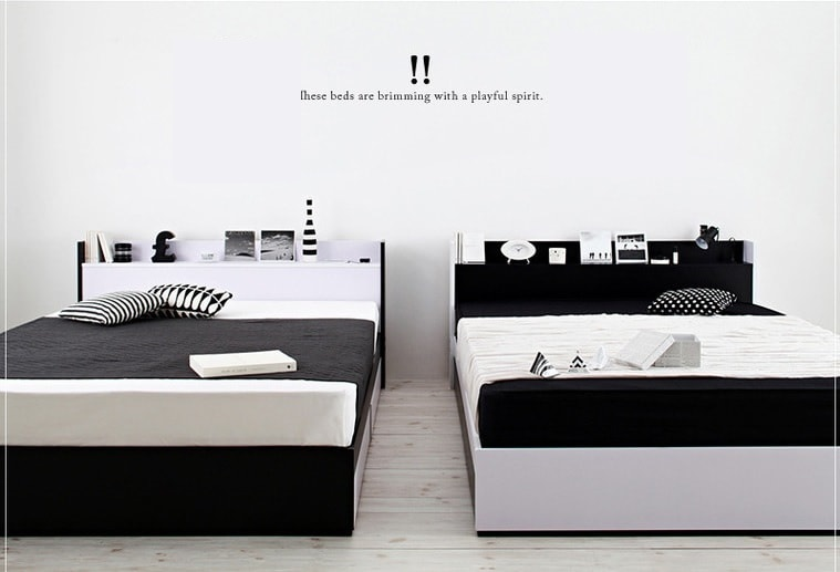 超クールな白黒バイカラー『モノトーンモダンデザイン 棚・コンセント付き収納ベッド【MONO-BED】モノ・ベッド』