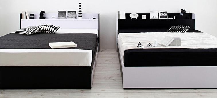 モノトーンで決める男前ベッド『モノトーンモダンデザイン 棚・コンセント付き収納ベッド【MONO-BED】モノ・ベッド』