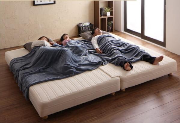 シングルサイズのマットレスベッドを2台並べてキングサイズに『日本製ポケットコイルマットレスベッド【MORE】モア 』