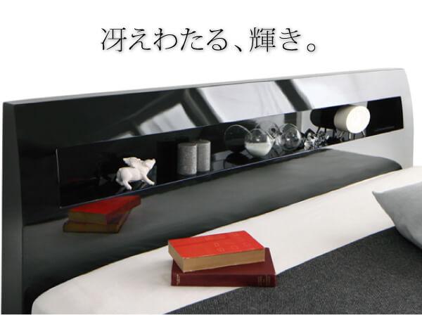 ラグジュアリーレッグタイプベッド『鏡面光沢仕上げ・モダンデザインすのこベッド【Morenoble】モアノーブル』