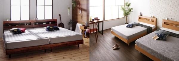 ぴったりと並べられるし、話しても使えるベッド『棚・コンセント付デザインすのこベッド【Mowe】メーヴェ』