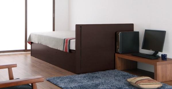 収納ベッドシングル通販 背面化粧仕様の収納ベッド『コンセント付き_フラットヘッドボード_跳ね上げベッド【Mulante】ムランテ』