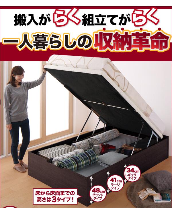 収納ベッド通販 跳ね上げすのこ収納ベッド『簡単組立・らくらく搬入_ガス圧式大容量跳ね上げベッド【Mysel】マイセル』