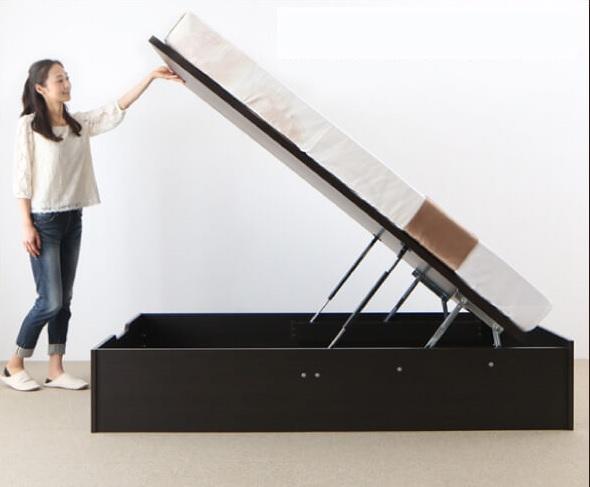 ガス圧跳ね上げ大容量収納ベッド『シンプルデザイン ガス圧式大容量跳ね上げベッド 【ORMAR】オルマー』