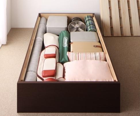 収納ベッド通販 シンプル収納ベッド『大容量収納庫付きすのこベッド ヘッドレス【O・S・V】オーエスブイ』