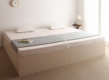 シングルベッドを2台ぴったり並べてキングサイズにできるベッド『大容量収納庫付きすのこベッド ヘッドレス【O・S・V】オーエスブイ』