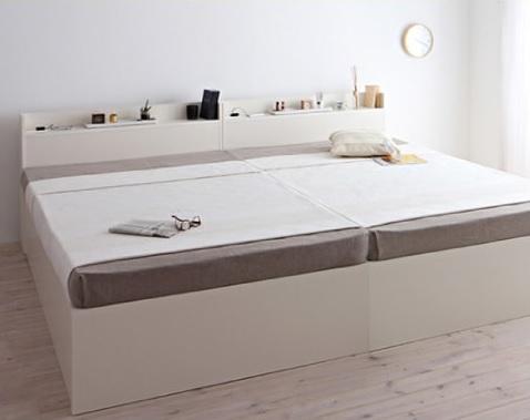 箱型ベッド『シンプルデザイン大容量収納庫付きすのこ&収納ベッド【Open Storage】オープンストレージ』を2台並べて使う