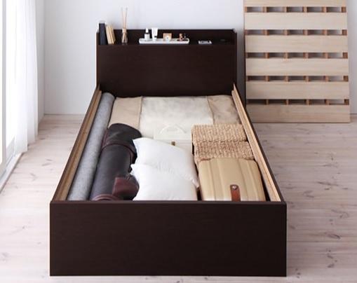収納ベッド通販 シンプル収納ベッド『シンプルデザイン大容量収納庫付きすのこ&収納ベッド【Open Storage】オープンストレージ』